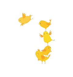 Happy funny cute yellow chicks having fun isolated vector