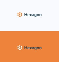 Hexagon 3D cube frame logo vector