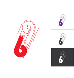 Initial number 69 logotype line concept in vector