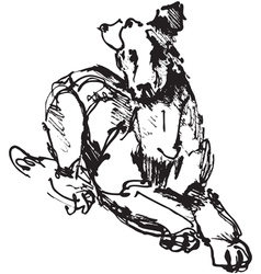 Ink sketch of dog playing young terrier vector