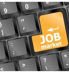 Job market key on the computer keyboard vector image