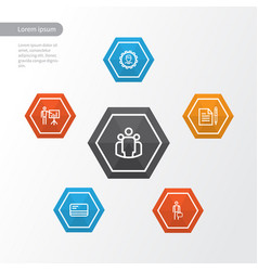 job outline icons set collection of bank card vector image