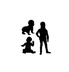 Kid and baby silhouettes vector