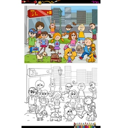 kids and city coloring book vector image