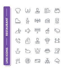 Line icons set restaurant vector