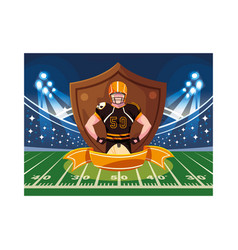 Man player american football with shield vector
