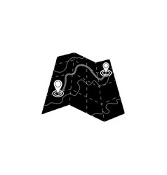 map icon black on white background vector image