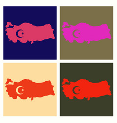 Map of turkey filled with flag of the state vector