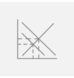 Mathematical graph line icon vector