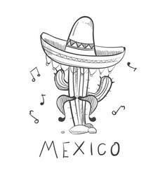 mexico sketch cactus in sombrero - hand drawn vector image
