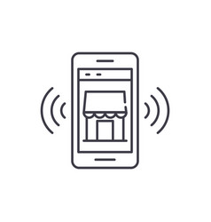 mobile electronic store line icon concept mobile vector image