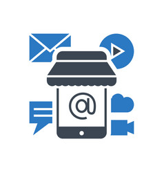 mobile marketing glyph icon vector image