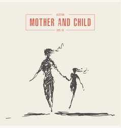 mother and child running silhouette drawn vector image