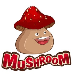 Mushroom with happy face vector image
