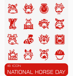 National horse day icon set vector