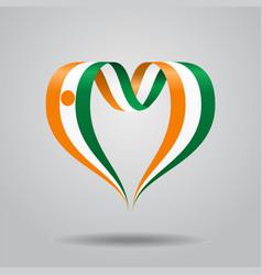 Niger flag heart-shaped ribbon vector