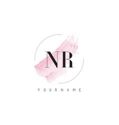Nr n r watercolor letter logo design vector