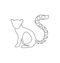 one continuous line drawing cute lemur vector image
