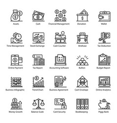 Pack accounting line icons vector