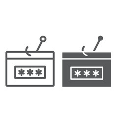 Password fishing line and glyph icon security vector