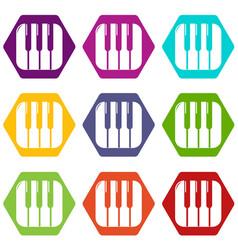 piano keys icons set 9 vector image