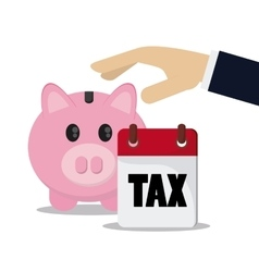 Piggy and calendar icon Tax and Financial item vector