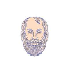 Plato Greek Philosopher Head Mono Line vector