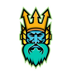 Poseidon greek god mascot vector