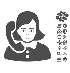 Receptionist Icon With Tools Bonus vector