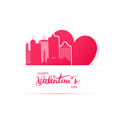 Red heart and silhouette of memphis city paper vector