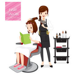 relaxing woman in hair salon vector image