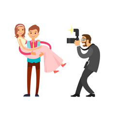 Romantic couple married groom and bride on wedding vector