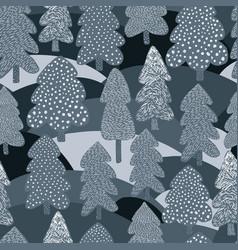 Scandinavian winter pine tree seamless pattern vector