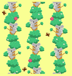 Seamless pattern with koalas on trees graphic vector