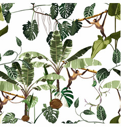 seamless pattern with tropical trees and chameleon vector image