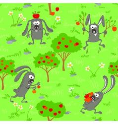 Seamless with bunnies vector