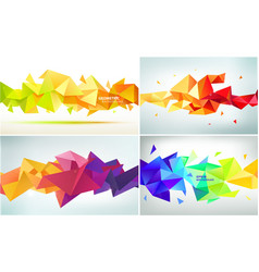 set abstract geometric facet shapes use vector image