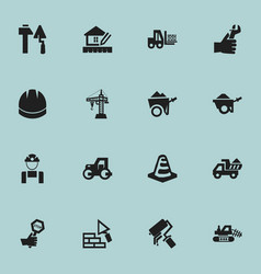 Set of 16 editable construction icons includes vector