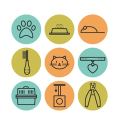 Set of pets flat icons cat symbols for design vector image