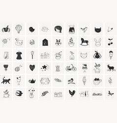 Simple hand drawn elements and doodles vector