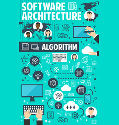 software architecture banner of network technology vector image