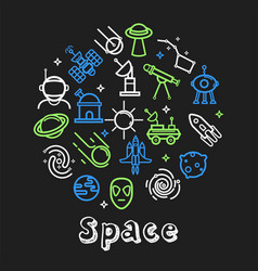 space outline icons cosmos and cosmic objects vector image