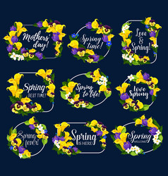 Spring flowers bouquets icons vector