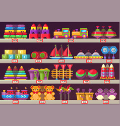 stall or showcase with kids or children toys vector image