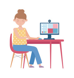 Stay at home woman with computer online connected vector