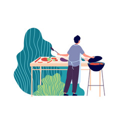summer bbq man fried meat on nature summertime vector image