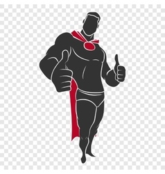 Superhero raised his finger up vector