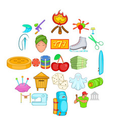 theatrical icons set cartoon style vector image