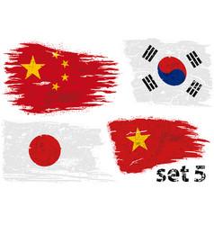 Torn flag china south korea japan and vietnam vector