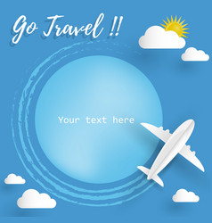 Travel background with airplane aerial view vector